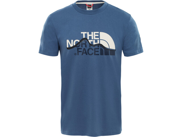 The North Face M's Mountain Line SS Tee Shady Blue/Vintage White